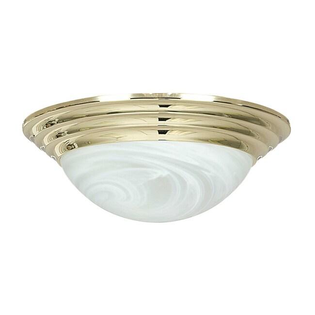 Two-Light Polished Brass Flush Mount