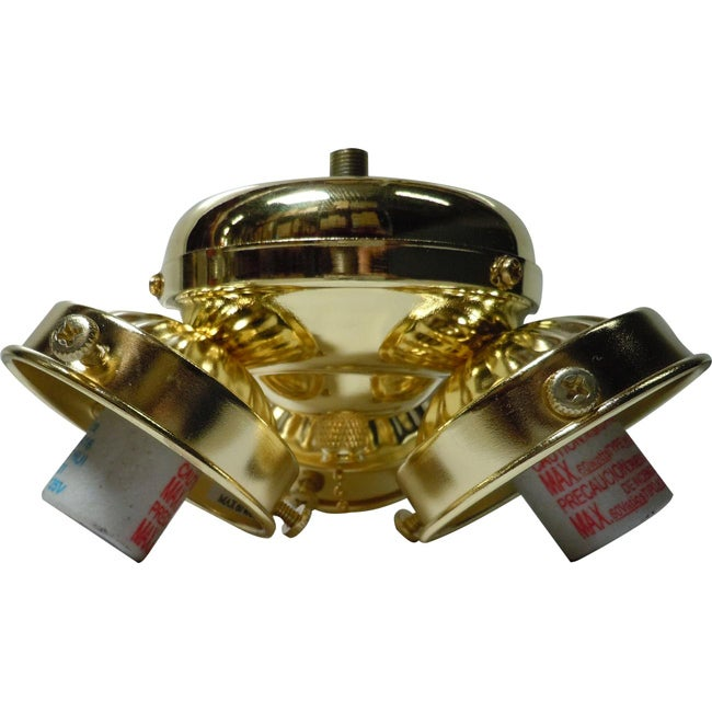Three Light Polished Brass Ceiling Fan Light Kit
