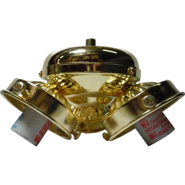 Three Light Polished Brass Ceiling Fan Kit