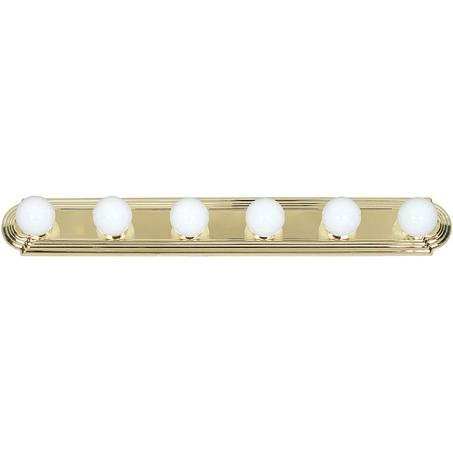 Six Light Polished Brass Raceway Bathbar