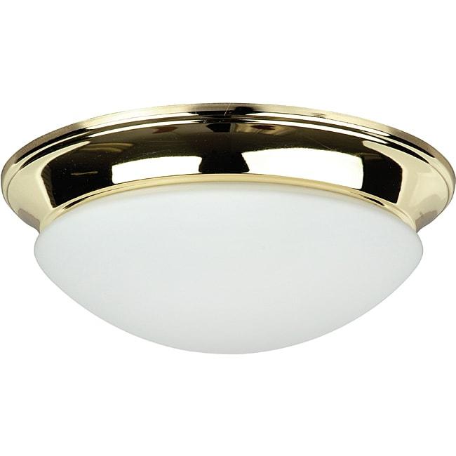 Three-Light Polished Brass Twist-On Opal Flush Mount Fixt...