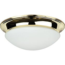 Three-Light Polished Brass Twist-On Opal Flush Mount Fixture