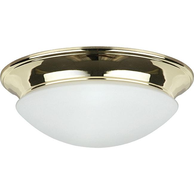 Two Light Polished Brass Twist on Opal (White) Flush Moun...