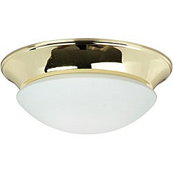 One Light Polished Brass Twist on Opal Flush Mount