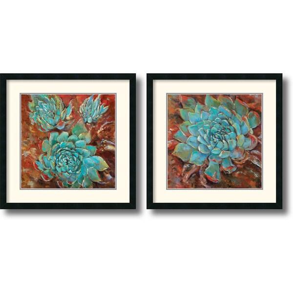 Jillian David Design 'Blue Agave' Framed Art Print Set  26 x 26-inch (Each)