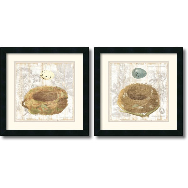 Moira Hershey 'Botanical Nest' Framed Art Print Set  18 x 18-inch (Each)