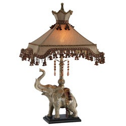Elephant Lamp With Beaded Shade