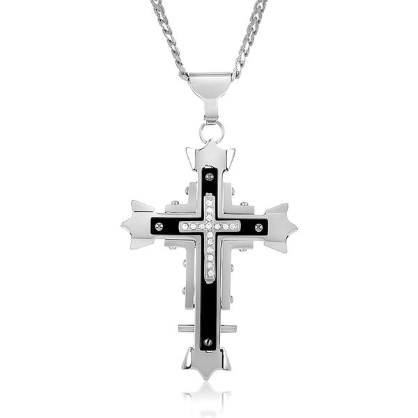 Men's Cubic Zirconia High Polish Stainless Steel Cross Necklace - Black/White