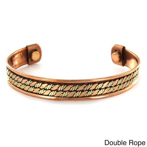 West Coast Jewelry Two-toned High-polish Copper Magnetic Patterned Cuff Bracelet