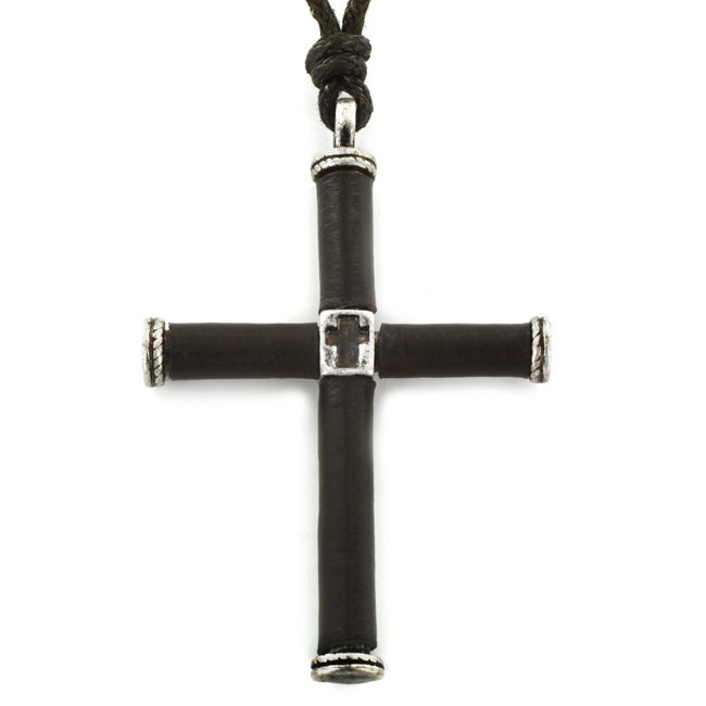 Antiqued Silvertone and Black Rubber Cross Adjustable Cord Necklace