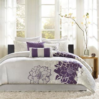 purple bedroom sets. Madison Park Bridgette Floral pattern Cotton Comforter Set Purple Sets For Less  Overstock com
