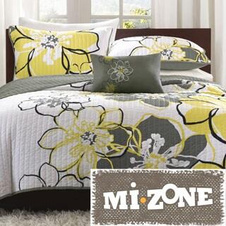 Mi Zone Mackenzie Yellow/Grey Patterned 4-piece Quilt Set (As Is Item)
