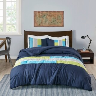 Mi Zone Switch Casual Stripe 4-piece Navy Comforter Set