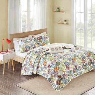Mi Zone Asha Multi Paisley Quilted Coverlet Set