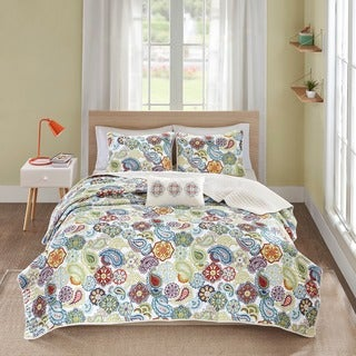Mi Zone Asha Multi Paisley Quilted Coverlet Set - Thumbnail 0