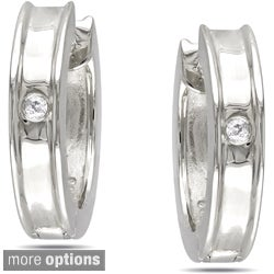 Miadora Sterling Silver Diamond Hoop Earrings