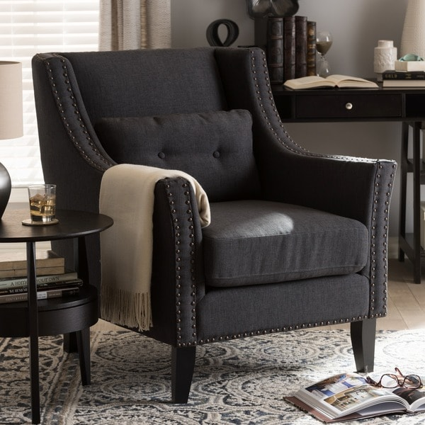 Shop Albany Dark Gray Linen Modern Lounge Chair