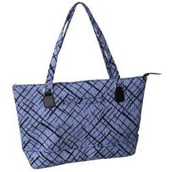 Jenni Chan Brush Strokes 17-inch Padded Blue Cotton Laptop Tote - Thumbnail 1
