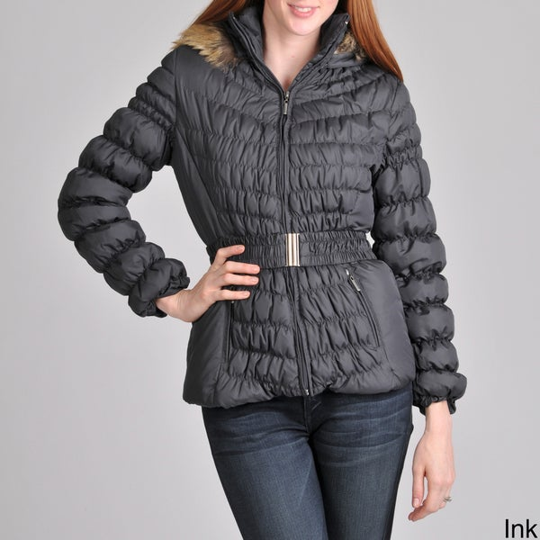 Women's Melbourne Down Jacket with Quilt Detail and Belt