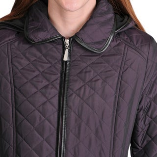 Women's Geneva Quilted Jacket with Front Zip and Removable Hood