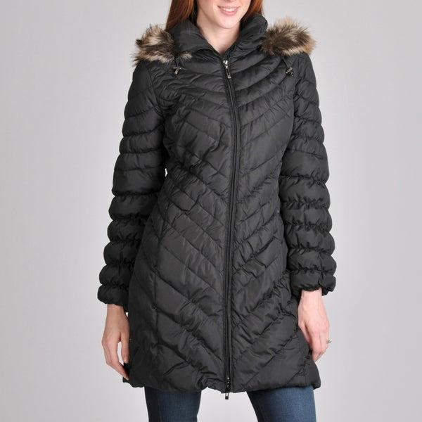 Nuage Women's Petite Melbourne Short Coat with Faux Fur Removable Hood