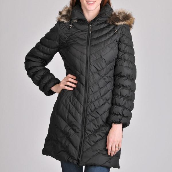 Women's Melbourne Short Coat with Faux Fur Removable Hood - Black