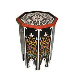 Handpainted Multicolor Wooden Fes End Table (Morocco)