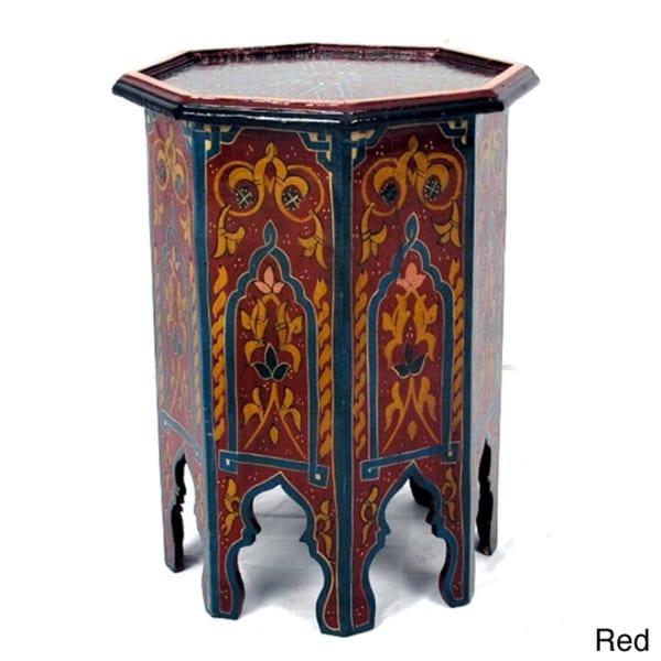 Handpainted Aqua Green Wooden Fes End Table (Morocco)