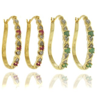Dolce Giavonna 18k Gold overlay Gemstone and Diamond Accent 'XO' Hoop Earrings
