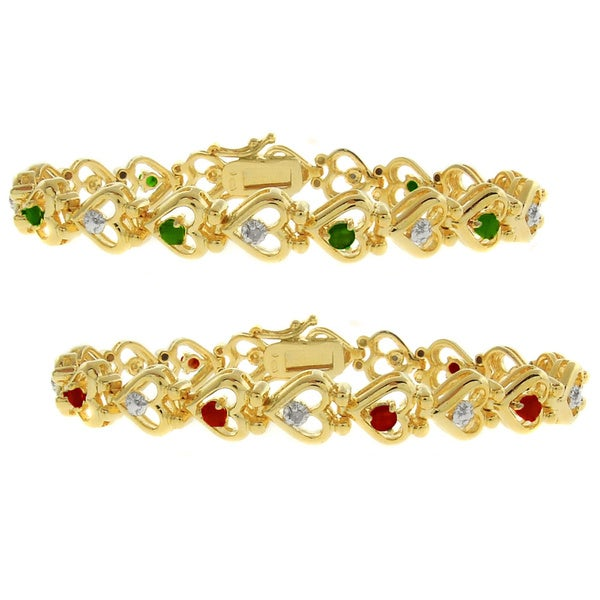 Dolce Giavonna 18k Gold overlay Gemstone and Diamond Accent Heart Bracelet