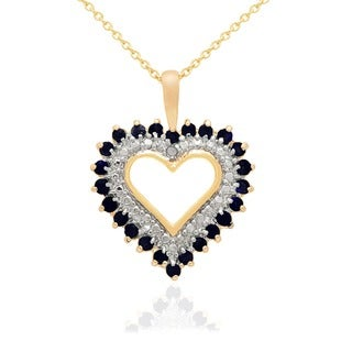 Dolce Giavonna 18k Gold Overlay Gemstone and Diamond Accent Heart Necklace with Red Bow Gift Box