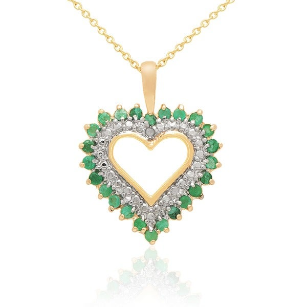 Dolce Giavonna Gold Overlay Gemstone and Diamond Accent Heart Necklace With Red Bow Gift Box