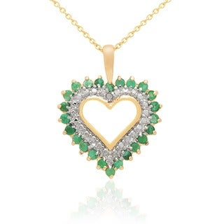 Dolce Giavonna 18k Gold Overlay Gemstone and Diamond Accent Heart Necklace with Gift Box