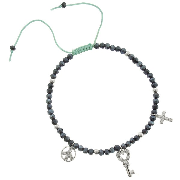 Dolce Giavonna Cubic Zirconia Cross, Key and Peace Symbol Charm Bracelet