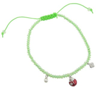 Dolce Giavonna CZ Flower, Ladybug and Simulated Pearl Charm Bracelet