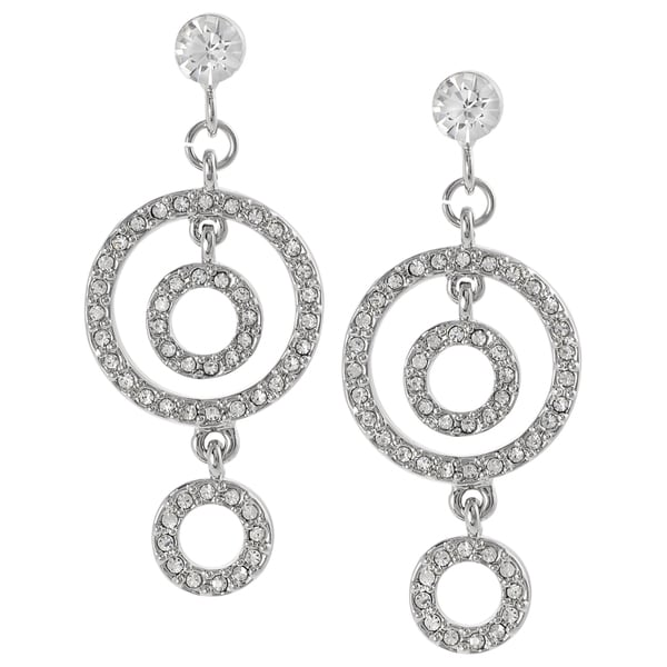 Journee Collection Silvertone Crystal Circle Dangle Earrings