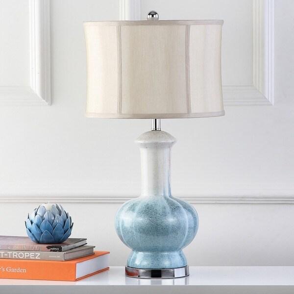 Safavieh Lighting 28.5-inch Oceans Blue Glazed Ceramic Table Lamp