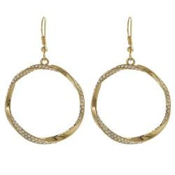 Journee Collection Goldtone Crystal Twisted Circle Earrings