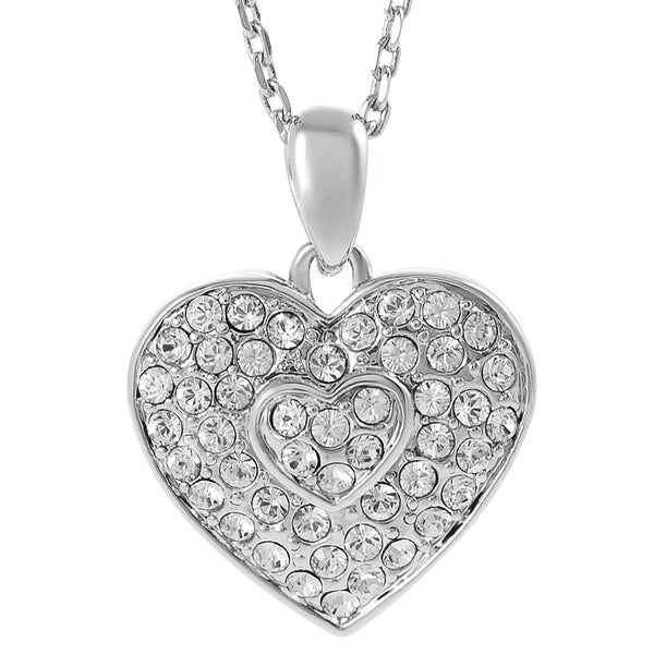 Journee Collection Silvertone Crystal Double Heart Necklace