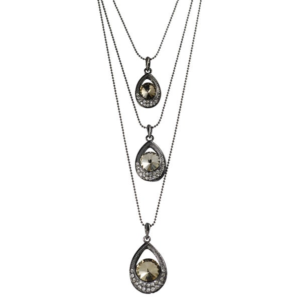 Journee Collection Rhodium-plated Yellow White Glass Stone Necklace