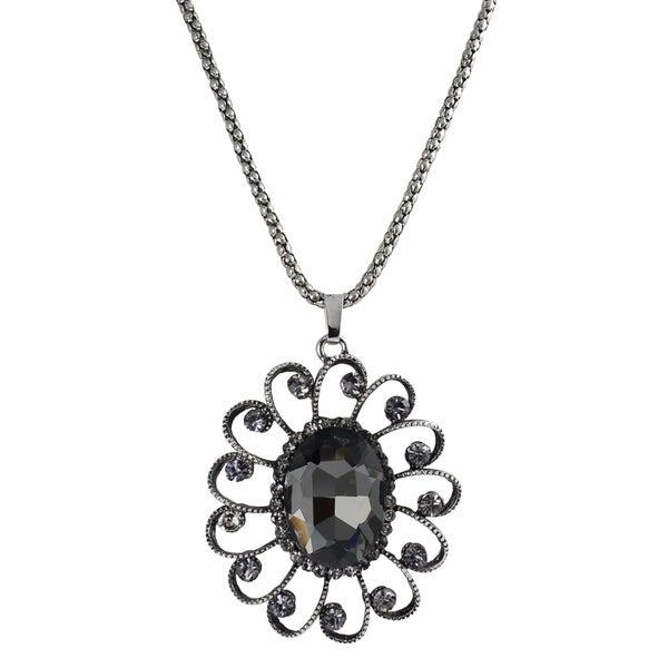 Journee Collection Silvertone Base Grey Glass Stone Vintage Necklace