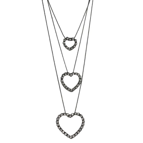 Journee Collection Rhodium-plated Base Glass Stone Hearts Necklace