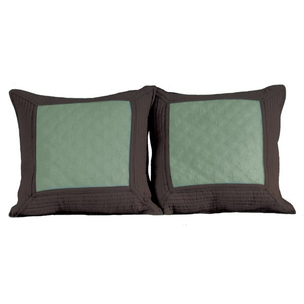 Greenland Home Fashions Brentwood Quilted Seafoam Blue/ Espresso Decorative Pillows (Set of 2)