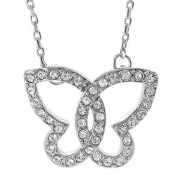 Journee Collection Silvertone Crystal Butterfly Necklace