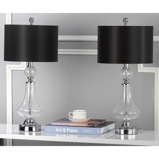 Safavieh Lighting Crackled Silvertone Black Glass 24-inch Table Lamps (Set of 2)