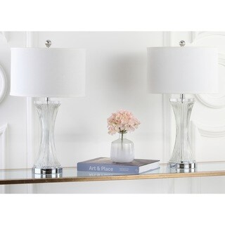 Safavieh Lighting 25-inch Curved Glass Table Lamp (Set of 2)