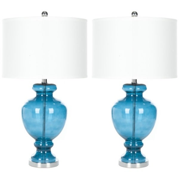 Safavieh Lighting 28-inch Turquoise Glass Table Lamps (Set of 2)