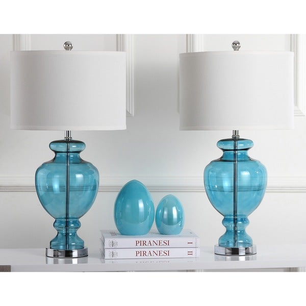 Safavieh Lighting 28 Inch Turquoise Glass Table Lamps (Set Of 2)