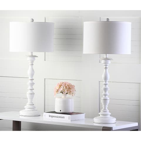 "Safavieh Lighting 32.5-inch French Candlestick White Table Lamp (Set of 2) - 15""x15""x32.5"""