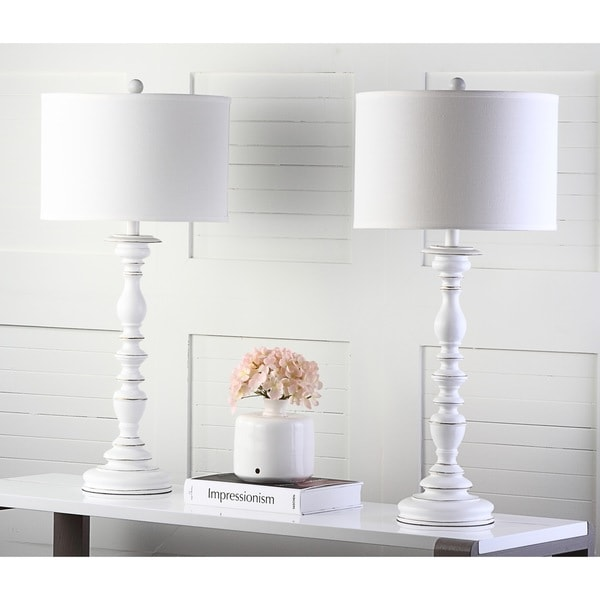Safavieh lighting 32 5 inch french candlestick white table lamp set of 2